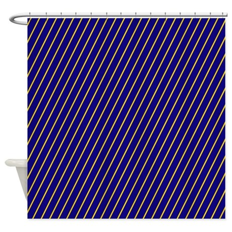 Deep Blue And Gold Striped Shower Curtain By PatternedShop