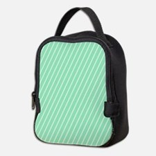 Mint and White Striped Neoprene Lunch Bag