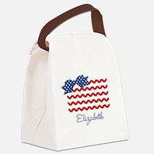 Girly Rick Rack Flag Canvas Lunch Bag