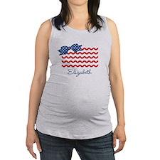Girly Rick Rack Flag Maternity Tank Top