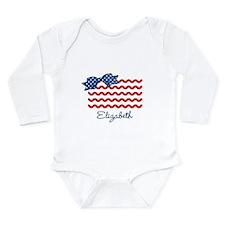 Girly Rick Rack Flag Long Sleeve Infant Bodysuit