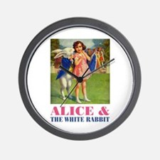 LICE & THE WHITE RABBIT Wall Clock
