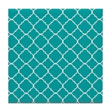 Aqua Marine Quatrefoil Pattern Tile Coaster