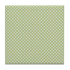 Light Blue Green Small Polka Dots Tile Coaster