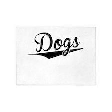 Dogs, Retro, 5'x7'Area Rug