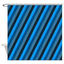 Dark Blue Striped Shower Curtain
