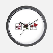Three Valentine Scenes Wall Clock