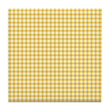 Yellow Gingham Tile Coaster
