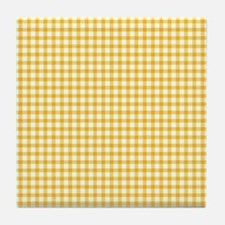 Yellow Gingham Tile Coaster
