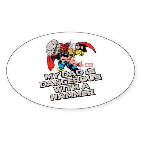 Thor: Dad Dangerous Hammer Sticker (Oval)
