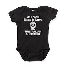 Love And An Australian Shepherd Baby Bodysuit