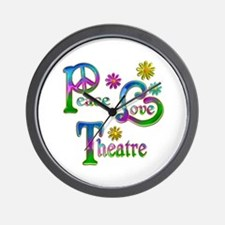 Peace Love Theatre Wall Clock