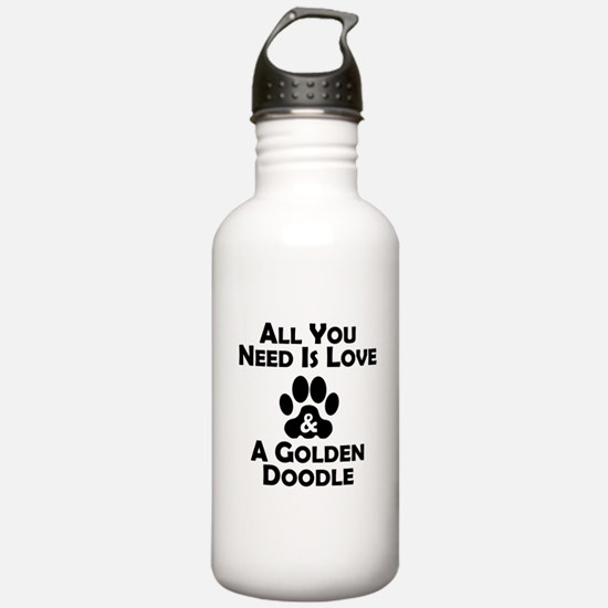 Love And A Goldendoodle Water Bottle