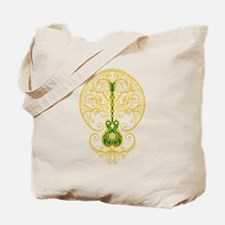 Green and Yellow Guitar Tree of Life Tote Bag