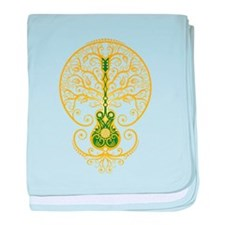 Green and Yellow Guitar Tree of Life baby blanket
