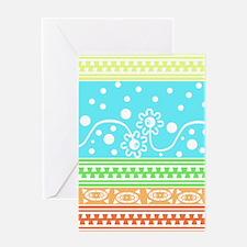 Aztec Flower Garden Tangle Greeting Cards
