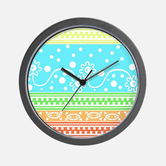 Aztec Flower Garden Tangle Wall Clock