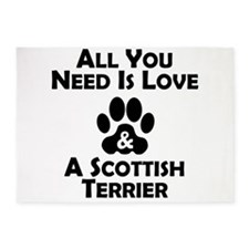 Love And A Scottish Terrier 5'x7'Area Rug