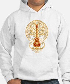 Red and Yellow Guitar Tree of Life Hoodie Sweatshi