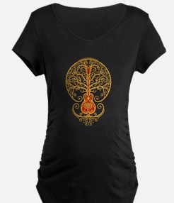 Red and Yellow Guitar Tree of Life Maternity T-Shi