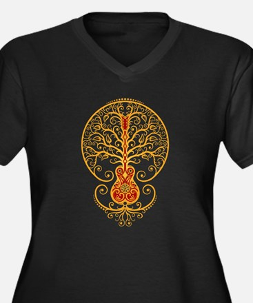 Red and Yellow Guitar Tree of Life Plus Size T-Shi