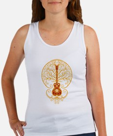 Red and Yellow Guitar Tree of Life Tank Top