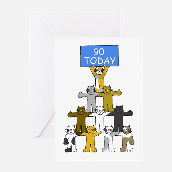 90th Birthday for cat lover Greeting Cards