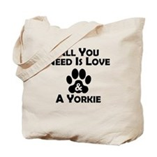Love And A Yorkie Tote Bag