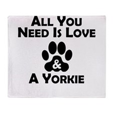 Love And A Yorkie Throw Blanket