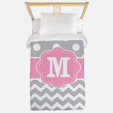 Pink Gray Dots Chevron Monogram Twin Duvet