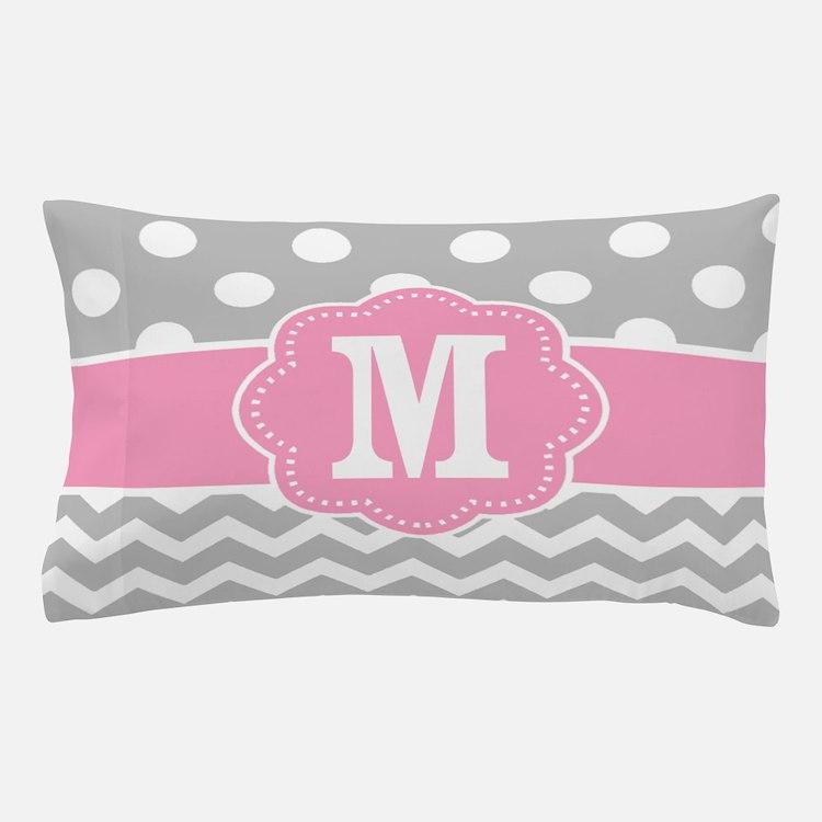 Gray Pink Dots Chevron Monogram Pillow Case