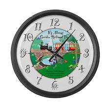 Garden Railroad Time Large Wall Clock