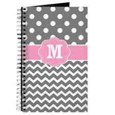 Pink Gray Chevron Dots Monogram Journal