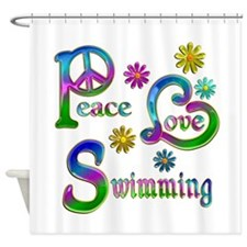 Peace Love Swimming Shower Curtain