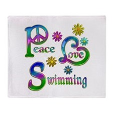 Peace Love Swimming Throw Blanket