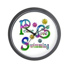 Peace Love Swimming Wall Clock