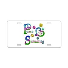 Peace Love Swimming Aluminum License Plate