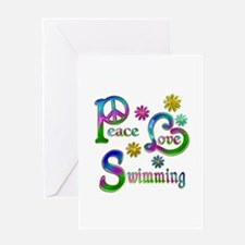 Peace Love Swimming Greeting Card