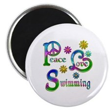 Peace Love Swimming Magnet