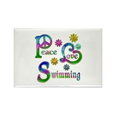 Peace Love Swimming Rectangle Magnet (10 pack)