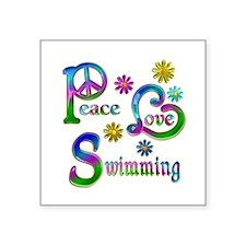 """Peace Love Swimming Square Sticker 3"""" x 3"""""""