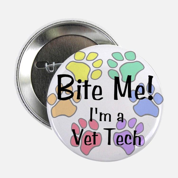 Bite Me I'm A Vet Tech Pawprints Button