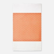 Grunge Coral Orange, Stars, Polka Dots 3'x5' Area