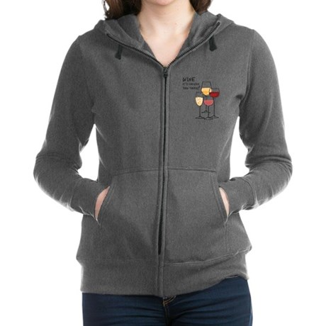 Wine Its cheaper than therapy Women's Zip Hoodie