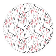 Red Leaves Round Car Magnet