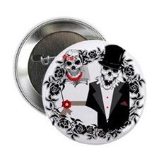 """Skull Bride and Groom 2.25"""" Button"""