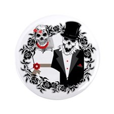 "Skull Bride and Groom 3.5"" Button"