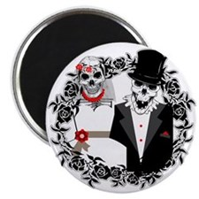 Skull Bride and Groom Magnet