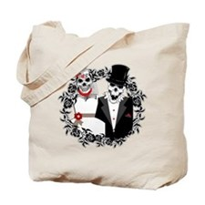 Skull Bride and Groom Tote Bag