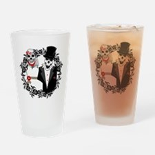Skull Bride and Groom Drinking Glass